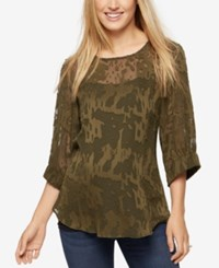 A Pea In The Pod Maternity Textured Chiffon Blouse Olive