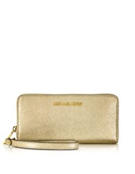 Michael Kors Jet Set Travel Pale Gold Metallic Saffiano Leather Continental Wallet