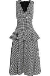 Marissa Webb Lorraine Layered Gingham Crepe Midi Dress Black