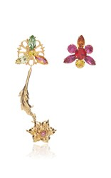 Rodarte Gold Flower Earrings With Multicolor Swarovski Crystal Details