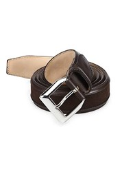 Sutor Mantellassi Truman Veloucal Adjustable Leather And Suede Belt Red Brown