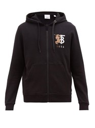 Burberry Stockley Logo Embroidered Cotton Hooded Sweatshirt Black