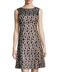 Kay Unger New York Dotted Lace Cocktail Dress Black Multi
