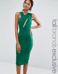 Taller Than Your Average Ttya Black Talex Sleeveless Asymmetric Detail Pencil Midi Dress Gree Green