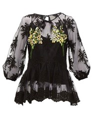 Romance Was Born Mimosa Floral Embroidered Tulle Top Black