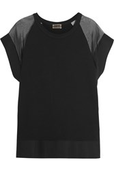 Giambattista Valli Silk Organza Paneled Cotton Jersey Top Black
