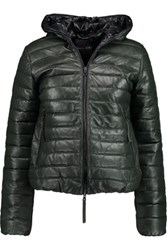 Duvetica Messenedue Quilted Leather Hooded Coat Army Green