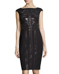 Versace Cap Sleeve Dress With Beaded Embroiderey