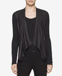 Calvin Klein Jeans Draped Faux Leather Cardigan Black