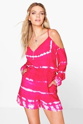 Boohoo Tie Dye Open Shoulder Playsuit Pink