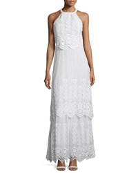 Miguelina Edna Crocheted Lace Halter Maxi Dress Pure White