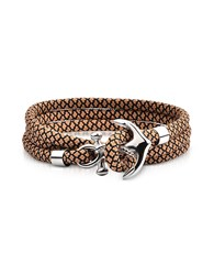 Forzieri Men's Bracelets Light Brown And Black Rope Triple Bracelet W Anchor