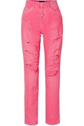 Amiri Distressed High Rise Jeans Bright Pink