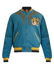 Gucci Dragon Embroidered Corduroy Bomber Jacket Blue