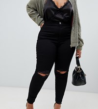 Asos Design Curve Rivington High Waisted Jeggings With Frayed Knee Rip Detail Clean Black