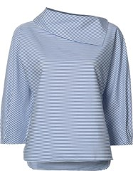 Tibi Sculpted Sleeve Striped Blouse Blue