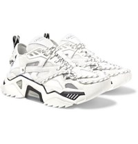 Calvin Klein 205W39nyc Strike 205 Mesh Suede Neoprene And Leather Sneakers White