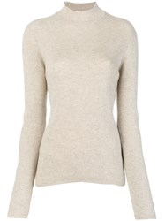 Pringle Of Scotland Ribbed Roll Neck Sweater Nude And Neutrals