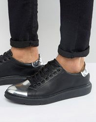 Asos Trainers In Black With Silver Metallic Toe Cap Black