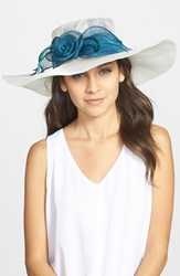 August Hat Wide Brim Derby Hat Ivory Teal