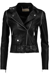 Michael Michael Kors Convertible Leather Biker Jacket Black