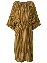 Humanoid Striped Dress Brown