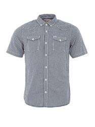 Garcia Mens Check Print Cotton Shirt Marine