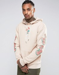 Hype Hoodie With Embroidered Floral Sleeves Beige