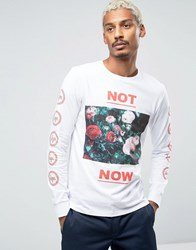 Hype Long Sleeve Tee With Floral Statement And Sleeve Print White
