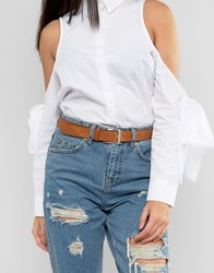 Asos Leather Silver Buckle Waist And Hip Belt Brown