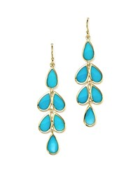 Ippolita 18K Yellow Gold Rock Candy Cascade Teardrop Earrings With Turquoise Blue Gold