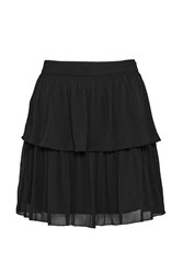 French Connection Lizzie Sheer Tiered Skirt Black