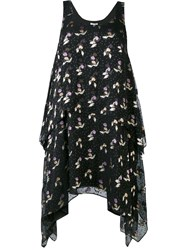 Opening Ceremony Floral Drape Dress Women Viscose 4 Black
