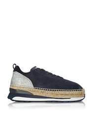 Hogan Deep Blue Perforated Suede Lace Up Sneakers W Glitter