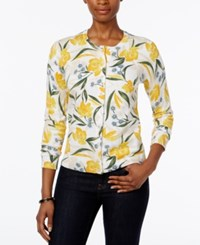 Karen Scott Petite Floral Print Cardigan Only At Macy's Bright White Combo