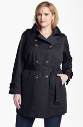 London Fog Plus Size Women's Heritage Trench With Detachable Liner Navy