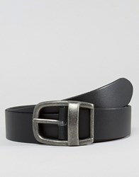 Asos Wide Leather Belt In Black With Vintage Buckle Black