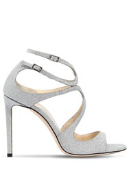 Jimmy Choo 100Mm Lang Glittered Leather Sandals Silver