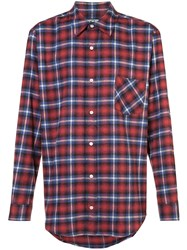 Adaptation Printed Back Plaid Shirt Cotton Red