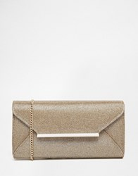 Lipsy Envelope Clutch Bag In Gold Woven Fabric Gold