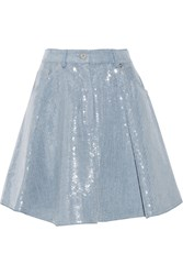 Moschino Pleated Sequined Denim Mini Skirt Blue