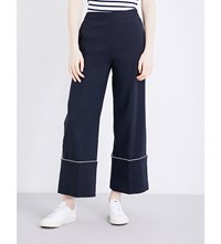 Izzue Contrast Piping Wide Leg Cotton Blend Trousers Navy