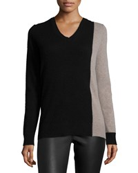 360Cashmere Cashmere Asymmetric Colorblock Sweater Black Mid