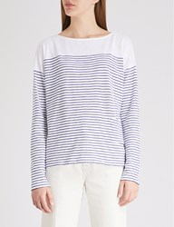 The White Company Striped Cotton Top Navy White