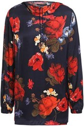Mother Of Pearl Woman Astra Floral Print Satin Hooded Top Navy
