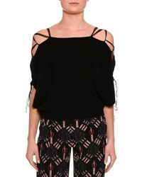 Valentino Lace Up Cold Shoulder Sweater Black