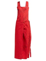 By Walid Shirley 20Th Century Embroidered Linen Dress Red