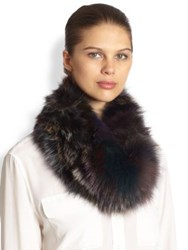 Surell Fox Fur Loop Scarf Grey Multi