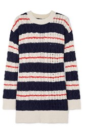 J.Crew Gabby Striped Cable Knit Merino Wool Blend Sweater Navy