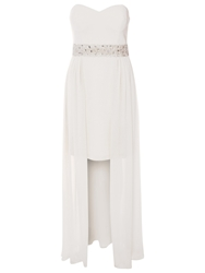 True Decadence Embellished Mini Maxi Layered Dress White